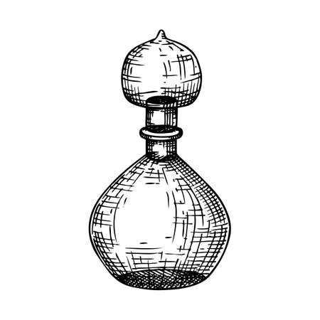 Hand sketched glass bottle illustration in vintage style. Glassware drawing for alchemy, medicine, cosmetics, or perfume. Alchemy laboratory equipment sketch. Magic lab tools isolated on white Stock Illustratie