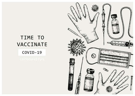 Coronavirus vaccine vector design. Hand-sketched template for Covid-19 vaccination illustrations with vaccine bottle, syringe injection tools, and different viruses. Vintage medical sketches