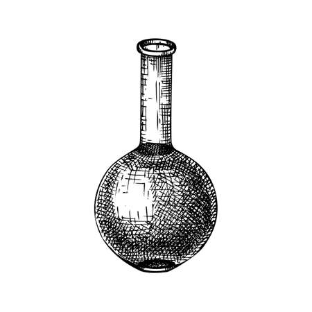 Medicine laboratory equipment sketch. Hand drawn glass flask illustration. Chemical lab testing equipment. Vector flat bottomed flask for science experiments, alchemy, perfumery