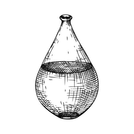 Alchemy laboratory equipment sketch. Magic, witchcraft and mysticism glassware illustration. Alchemy bottle with some liquid in engraved style. Hand drawing.