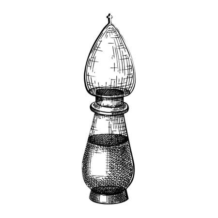 Hand sketched glass bottle in vintage style. Glassware drawing for alchemy, medicine, cosmetics or perfume. Alchemy laboratory equipment sketch. Magic lab tools Stock Illustratie