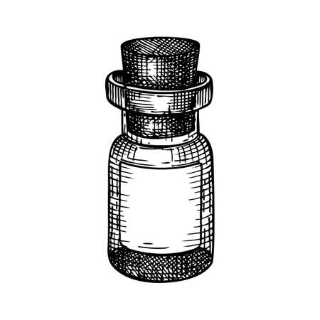Little glass bottle hand-sketched illustration. Glassware drawing for alchemy, medicine, cosmetics, or perfume. Chemical laboratory equipment sketch. Glass flask with place for text