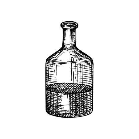 Chemical laboratory equipment sketch. Hand drawn glass bottle with liquid illustration. Glassware drawing for alchemy, medicine, cosmetics, or perfume. Alchemy laboratory equipment sketch. Stock Illustratie