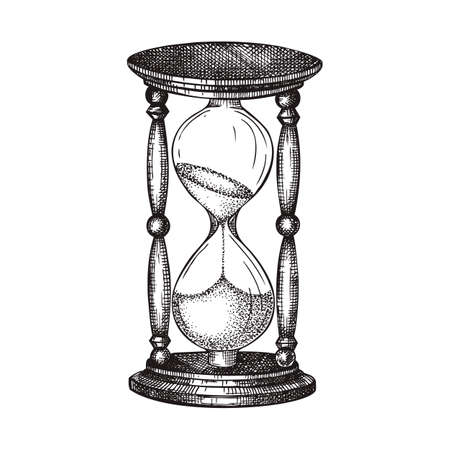 Hand sketched hourglass illustration. Vector drawing of sandglass in vintage style. Sketched wooden sandglasses for time, deadline theme or retro design isolated on white.