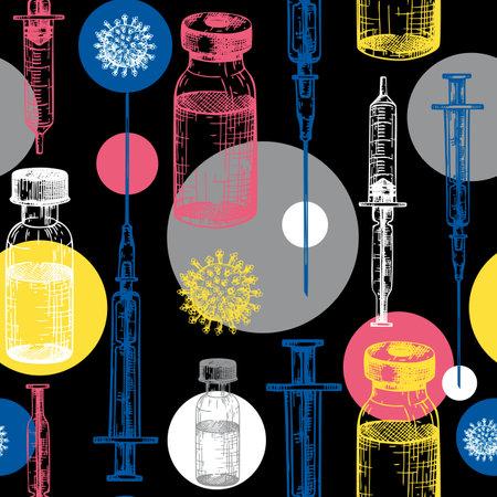 Coronavirus vaccine seamless pattern. Vector backdrop with vaccine bottle and syringe injection tools sketches. Trendy Coronavirus vaccine concept. Vector covid19 immunization backdrop Stock Illustratie