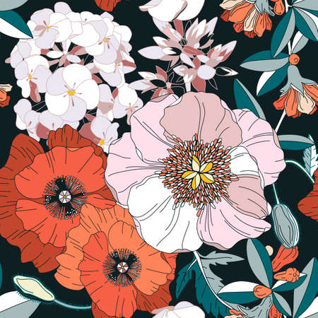 Botanical design. Garden peony, poppy, lily, pomegranate, phlox backdrop