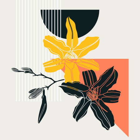Collage style lily design. Trendy abstract illustration with floral and geometric elements. Can be used for prints, wall art, social media, mobile apps, banners design and web / internet ads Stock Illustratie
