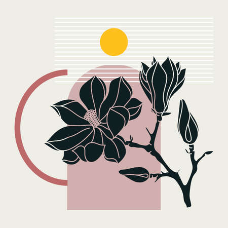 Collage style magnolia design. Trendy abstract illustration with floral and geometric elements. Can be used for prints, wall art, social media, mobile apps, banners design and web / internet ads Stock Illustratie