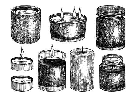 Hand-sketched aromatic candles collection. Vector illustrations of burning tallow, wax, paraffin candles. For aromatherapy, hygge home or holiday decoration, meditation. Vintage design elements Ilustracja