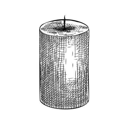 Hand-sketched aromatic candle illustration. Vector drawing of paraffin candles. For aromatherapy, hygge home or holiday decoration, meditation. Vintage design element