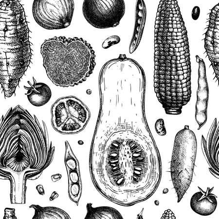 Seasonal vegetable pattern.