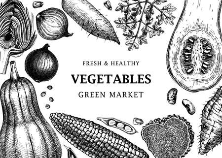 Harvest festival frame design. Vegetables, herbs, mushrooms backdrop with hand-sketched elements.