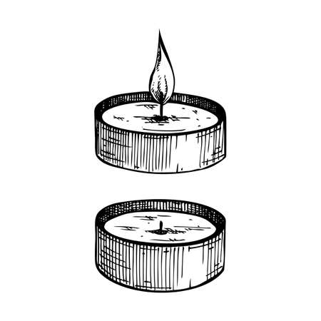 Hand-sketched aromatic candles collection. Vector illustrations of burning paraffin candles. For aromatherapy, hygge home or holiday decoration, meditation. Vintage design elements