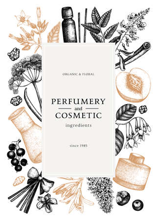 Vector frame with fragrant fruits sketched perfumery and cosmetics ingredients illustration. Aromatic and medicinal plants design. Botanical template for invitation or greeting card.