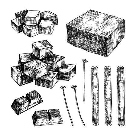 Hand-sketched aromatic candles ingredients collection. Vector illustrations of wax, paraffin, fragrance, color and skewers. For aromatherapy, hygge home or holiday decoration, meditation.