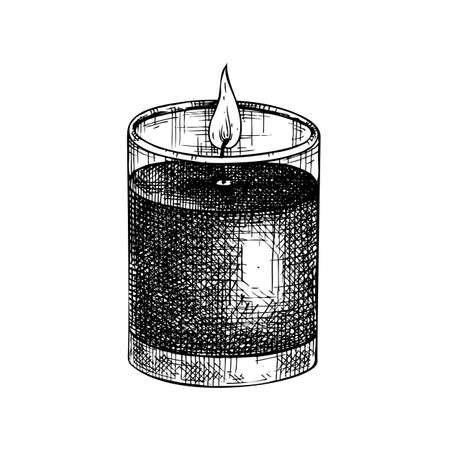 Hand-sketched aromatic candle illustration ,. Vector sketch of burning paraffin candle. For aromatherapy, hygge home or holiday decoration, meditation. Vintage design element