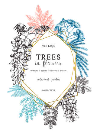 Botanical illustration with hand-sketched trees in flowers. Vintage frame with blooming wisteria, mimosa, albizia, acacia. Floral greeting card or wedding invitation design in color Stock Illustratie