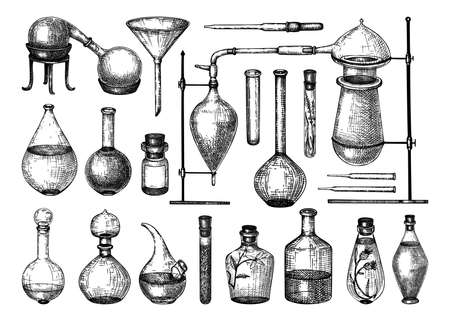 Alchemy laboratory equipment sketch. Magic, witchcraft, and mysticism glassware illustration. Alchemy bottle in engraved style. Hand drawing.