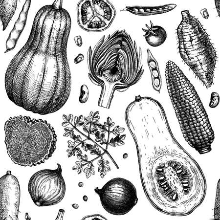 Hand-sketched vegetables, mushrooms, herbs seamless pattern. Healthy food ingredients background. Perfect for wrapping paper, fabrics, wed banners, branding, ads.