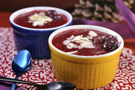 starch: Traditional Danish berry jelly made from assortment of red fruit and starch. Before eating, liquid or whipped cream is added on top. Danish name of the dish is \\\\\\\Rodgrod med flode\\\\\\\