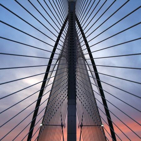 Landmark of modern silver steel bridge in Putrajaya, Malaysia  Asia photo