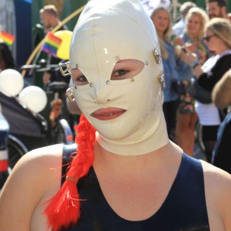 fetish wear: Copenhagen, Denmark - August 24, 2013- fetish woman participates at copenhagen pride parade Editorial