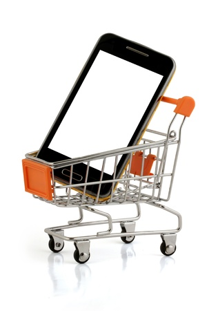 smart phone in your shopping cart, clipping pack photo