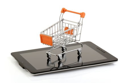 tablet pc on the shopping cart,clipping pack photo
