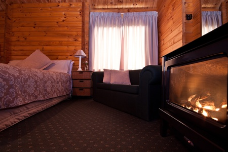 Nice warm interior of mountain lodge apartment with detail of fireplace. Fox Glacier Lodge, Fox Glacier, West Coast, South Island, New Zealand. photo