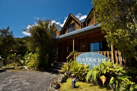 blockh�tte: Fox Glacier Lodge, Fox-Gletscher, Westk�ste, S�dinsel, Neuseeland.