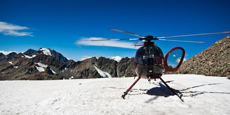 west  coast: Helicopter on the top of Mount Cook. Southern Alps, West Coast, South Island, New Zealand.