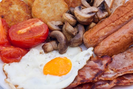 bacon baked beans: Detail of Full English Breakfast