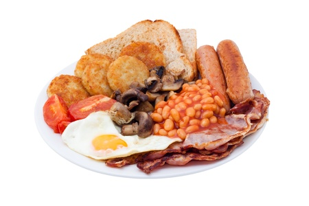 british foods: Traditional English Breakfast. Image is isolated on white background, contains clipping path. Stock Photo