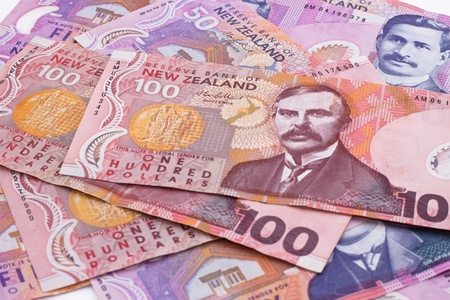 Dollar notes in New Zealand currency Stockfoto