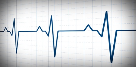 Simple graph wave inspired by audio or pulse monitor on white background.