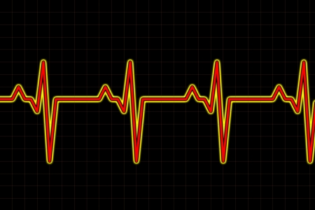 undulation: graph wave inspired by audio or pulse monitor on black background Stock Photo