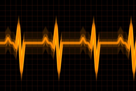 Vibrant graph wave inspired by audio or pulse monitor on black background. Stock Photo - 9476457
