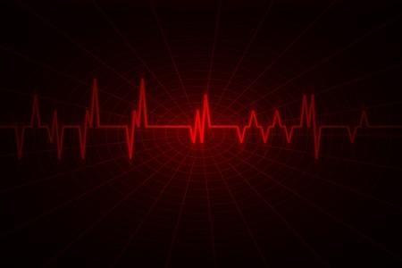 puls: czerwony fali zainspirowany przez monitor audio lub impulsowe. Obraz zawiera duże ciemne kopii miejsca.