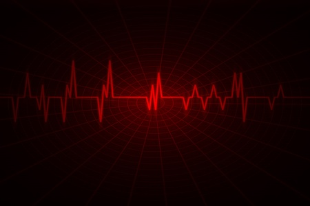 red wave inspired by audio or pulse monitor. Image includes large dark copy space.