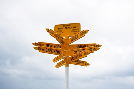 bluff: Signpost at Stirling Point, Bluff - New Zealand. Stock Photo