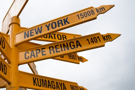 bluff: Detail of signpost at Stirling Point, Bluff - New Zealand.
