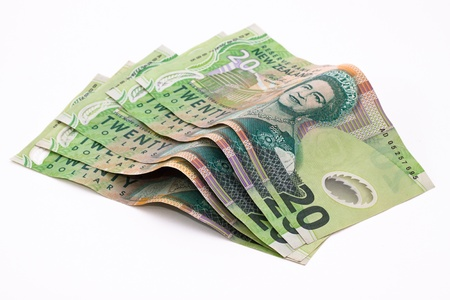 bank note: Dollar notes in New Zealand currency Stock Photo