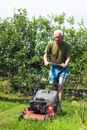 mowing grass: Portrait of elderly man mowing lawn in the garden.