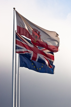 gibraltar: Flag of Gibraltar, Great Britain and European Union.