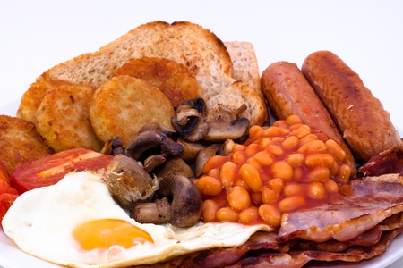 bacon baked beans: Detail of full English Breakfast Stock Photo