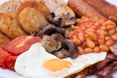 papas doradas: Detalle de desayuno completo Inglés Foto de archivo