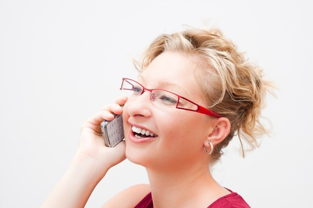 Portrait of smiling woman on the phone. photo