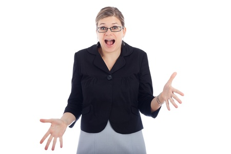 appalling: Shocked woman, isolated on white background.