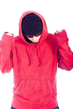 Hip Hop dancer in red hoody posing on white background. photo