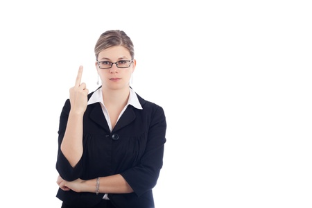 offend: Angry woman rude gesturing with finger, isolated on white background.